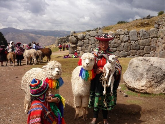 Peruvians in Traditional Dress and Llamas